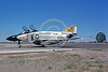 CHUTE-F-4USN 00008 A McDonnell Douglas F-4J Phantom II USN jet fighter VF-21 FREELANCERS USS Ranger taxis with chute NAS Fallon 8-1975 military airplane picture by Peter B Lewis