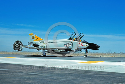 CHUTE-F-4USN 00006 A McDonnell Douglas F-4 Phantom II USN jet fighter VF-21 FREELANCERS USS Coral Sea taxis with chute NAS Fallon 4-1981 military airplane picture by Carl E Porter