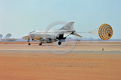 CHUTE-F-4USN 00009 A McDonnell Douglas F-4 Phantom II USN jet fighter VF-121 PACEMAKERS rolls out with chute NAS Miramar military airplane picture by Peter J Mancus