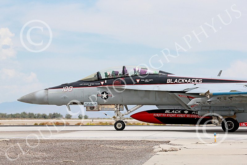 CUNMJ 00245 A Boeing F-18F Super Hornet jet fighter USN 166842 VFA-41 Black Aces CAG USS John C Stennis on runway for take-off at NAS Fallon 7-2014 military airplane picture by Peter J Mancus