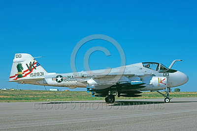 COP-A-6USMC 00001 A static Grumman A-6E Intruder USMC attack jet with bombs VMA(AW)-121 GREEN KNIGHTS commanding officer's airplane BICENENNIAL markings Minot AFB 6-1976 military airplane picture by Douglas E Slowiak  2