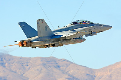 COP-F-18USMC 00002 A flying McDonnell Douglas F-18D Hornet USMC jet fighter VMFA(AW)-121 GREEN KNIGHTS commanding officer's airplane Nellis AFB military airplane picture by Peter J Mancus