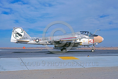 COP-A-6USN 00005 A taxing Grumman A-6E Intruder USN attack jet 155615 VA-35 PANTHERS USS Nimitz AJ code NAS Fallon 1-1981 military airplane picture by Michael Grove, Sr