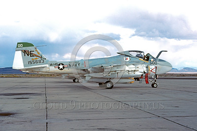 COP-A-6USN 00003 A static Grumman A-6 Intruder USN attack jet VA-145 SWORDSMEN USS Ranger BICENTENNIAL markings NAS Fallon 10-1978 military airplane picture by Peter J Mancus
