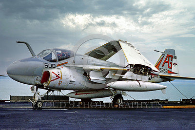 A-6-USN-VA-65 006 A static Grumman A-6E Intruder, USN 158531, carrier based long range all weather bomber, VA-65 THE WORLD FAMOUS FIGHTING TIGERS, commanding officer's airplane, USS Independence, 11-1975 Portsmouth, by Stephen W  D  Wolf  CCC_0154  Dt