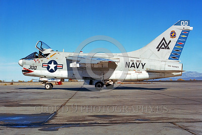 COP-A-7USN 00001 A taxing Vought A-7 Corsair II USN attack jet VA-303 GOLDEN HAWKS USS Ranger military airplane picture by Peter B Lewis