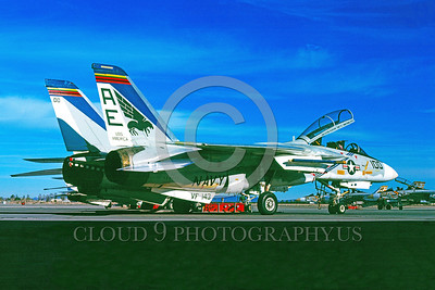 COP-F-14USN 00003 A static Grumman F-14 Tomcat USN jet fighter VF-143 PUKING DOGS commanding officer's airplane USS America NAS Fallon 1-1977 military airplane picture by Peter B Lewis