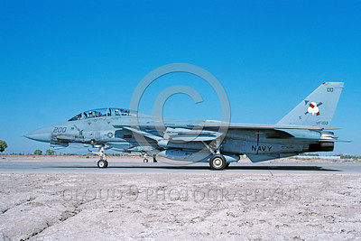 COP-F-14USN 00001 A taxing Grumman F-14 Tomcat USN jet fighter VF-103 SLUGGERS commanding officer's airplane USS Saratoga NAS Fallon 10-1991 military airplane picture by Peter J Mancus