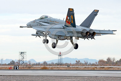 COP-F-18USN 00008 A colorful McDonnell Douglas F-18C Hornet USN jet fighter 164257 VFA-113 STINGERS commanding officer's airplane USS Carl Vinson with missiles lands at NAS Fallon 11-2013 military airplane picture by Peter J Mancus