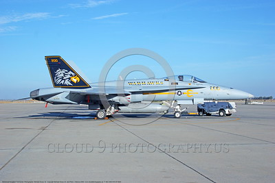 F-18C-USN-VFA-97 0003  A static McDonnell Douglas F-18C Hornet USN jet fighter 163444 VFA-97 WARHAWKS commanding officer's airplane NAS Lemoore 10-2005 military airplane picture by Michael Grove, Sr      DONEwt
