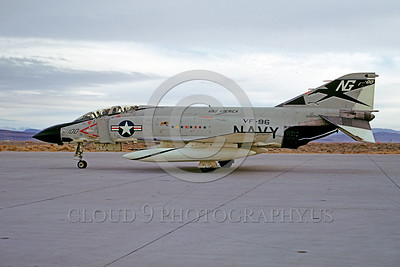 COP-F-4USN 00005 A taxing McDonnell Douglas F-4 Phantom II USN jet fighter VF-96 WORLD FAMOUS FIGHTING FALCONS commanding officer's airplane USS America NAS Fallon 12-1969 military airplane picture by Peter B Lewis