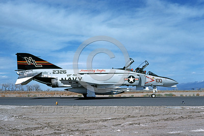 COP-F-4USN 00009 A taxing McDonnell Douglas F-4N USN jet fighter 152326 VF-51 SCREAMING EAGLES commanding officer's airplane NAS Fallon 6-1982 military airplane picture by Michael Grove, Sr
