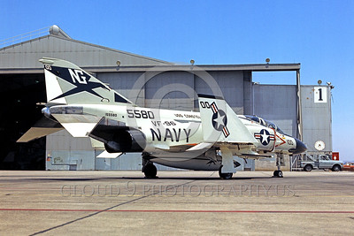 COP-F-4USN 00003 A static McDonnell Douglas F-4 Phantom II USN jet fighter VF-96 WORLD FAMOUS FIGHTING FALCONS commanding officer's airplane USS Constellation NAS Miramar 5-1974 military airplane picture by Peter J Mancus