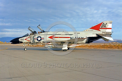 COP-F-4USN 00011 A taxing McDonnell Douglas F-4 Phantom II VF-301 DEVIL'S DISCIPLES commanding officer's airplane NAS Fallon military airplane picture by Peter B Lewis
