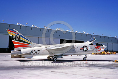 COP-F-8USN 00001 A static Vought F-8 Crusader USN jet fighter VF-194 LEGENDARY RED LIGHTNINGS commanding officer's airplane NAS Miramar 7-1966 military airplane picture by Clay Janson
