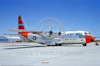 DG-C-130USAF 0001 A static day-glow Lockheed C-130A Hercules USAF 41624 George AFB 5-1964 military airplane picture by Peter B Lewis DONEwt