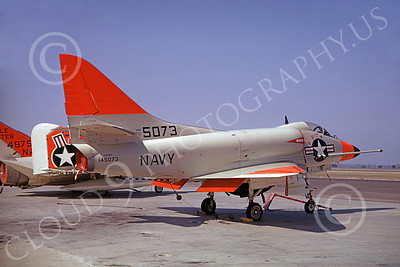A-4USN 00008 A US Navy Douglas AD4-2N Skyhawk, 145073, attack jet, day-glow orange paint, NAS Pt Mugu, 10-1962, military airplane picture, by Clay Janson