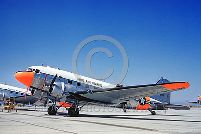 DG-C-47ANG 0001 A static day-glow Douglas C-47 Skytrain Ohio ANG 1960 military airplane picture by Clay Jansson