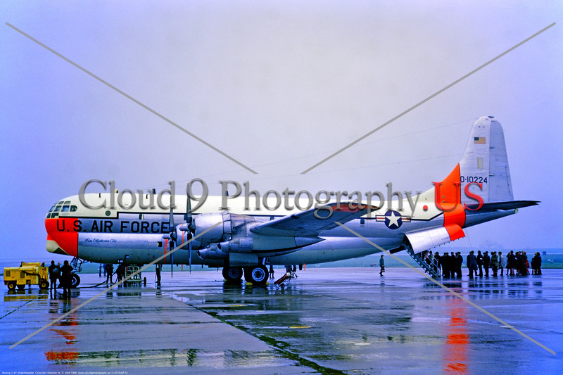 "C-97USAF 001 A static white with day-glow Boeing C-97G Stratogreighter 0-10224 ""Miss Okalahoma City"" in the rain U Heyford 5-1968 military airplane picture by Stephen W  D  Wolf     853_4826     DoneWT"