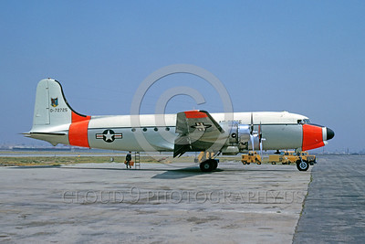DG-C-54USAF 0005 A static day-glow Douglas C-54 Skymaster USAF 72725 ADC Air Defense Command 4-1964 military airplane picture by Bud Donato