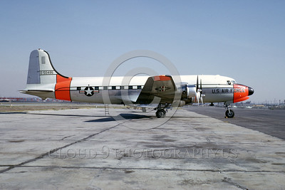 DG-C-54USAF 0003 A static day-glow Douglas C-54 Skymaster USAF 50495 cargo airplane 1964 military airplane picture by Clay Jansson