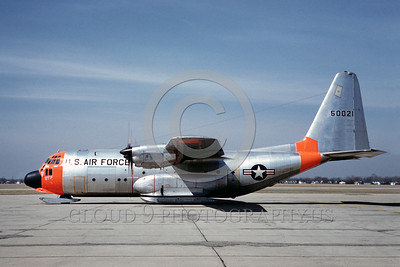 DG-C-130USAF 0003 A static day-glow Lockheed NC-130A Hercules with skis USAF 50021 4-1962 military airplane picture by Eugene M Sommerich