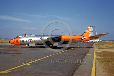 DG-B-57USAF 0001 A static day-glow Martin B-57E USAF jet bomber 33837 11-1960 military airplane picture by Eugene M Sommerich
