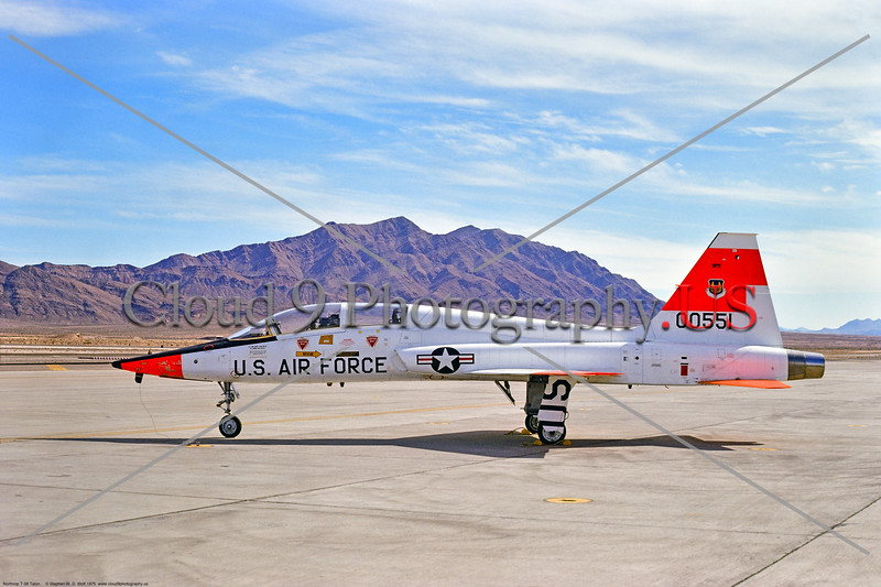 T-38USAF 001 A static Northrop T-38 Talon USAF jet trainer 00551 day-glow markings Nellis AFB 1975 military airplane picture by Stephen W  D  Wolf     BBB_8227     DoneWT