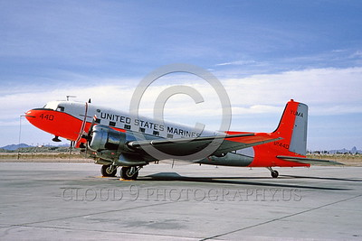 DG-C-117USMC 0001 A static day-glow Douglas C-117 Skytrain USMC MCAS Yuma 1965 military airplane picture by Clay Jansson