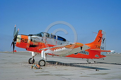DG-A-1USN 0005 A static day-glow Douglas A-1 Skyraider US Navy 133866 3-1965 military airplane picture by Clay Jansson