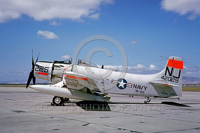 DG-A-1USN 0001 A static day-glow Douglas AD-7 Skyraider US Navy attack aircraft 142029 VA-122 FLYING EAGLES 1962 military airplane picture by Eugene M Sommerich