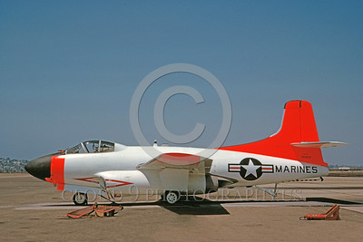 DG-F3DUSN 0003 A static day-glow Douglas F3D Skynight USMC 124617 8-1982 military airplane picture by Clay Jansson
