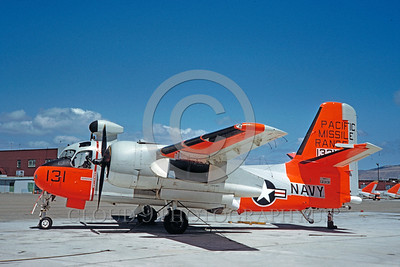 DG-S-2USN 0007 A static day-glow Grumman S2F-1 Tracker US Navy 133131 4-1961 NAS Pt Mugu military airplane picture by Clay Jansson
