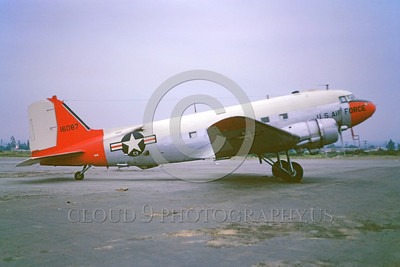 DG-C-47USAF 0001 A static day-glow Douglas C-47 Skytrain USAF 16087 5-1965 military airplane picture by Peter B Lewis