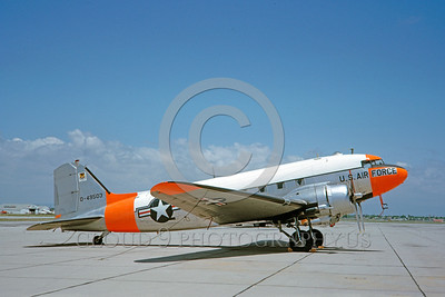 DG-C-47USAF 0003 A static day-glow Douglas C-47 Skytrain USAF 49503 6-1963 military airplane picture by Clay Jansson