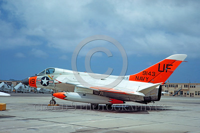 DG-F4DUSN 0001 A static day-glow Douglas F-6A Skyray US Navy 199143 VU-3 IRON MAN military airplane picture by Clay Jansson