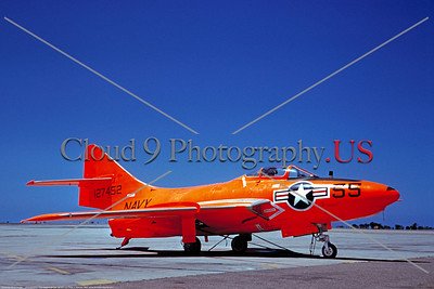 Drone-QF-9-USN 002 A static faded dayglow Grumman QF-9 Cougar USN 127452 drone NAS China Lake 4-1961 military airplane picture by Clay Janson     DONEwt