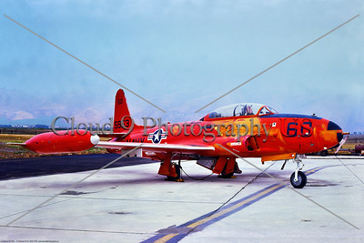 QT-33-USN 002 A static orange Lockheed QT-33A Shooting Star USN target drone, 155953, 8-1975, NAS Pt  Mugu, military airplane picture by Stephen W  D  Wolf     BBB_8877     Dt