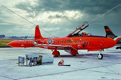 QT-33-USN 003 A static orange Lockheed QT-33A Shooting Star USN target drone, 1556007, 8-1975, NAS Pt  Mugu, military airplane picture by Stephen W  D  Wolf     BBB_8863     Dt