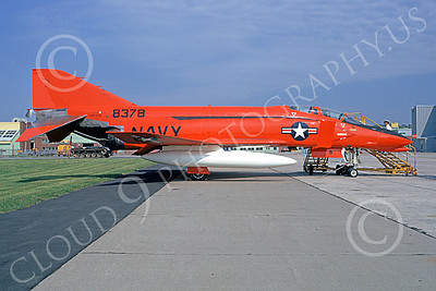 F-4USN 00811 A static red-orange McDonnell Douglas QF-4 Phantom II US Navy 8378 NADC Warminister 9-1973 military airplane picture by Ty Davidson