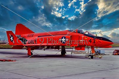 "QF-4B-USN 002 A static orange McDonnell Douglas QF-4B Phantom II USN target drone, 8378, ""BIG RED,"" 8-1975, NAS Pt  Mugu, military airplane picture by Stephen W  D  Wolf         BBB_8924     Dt"