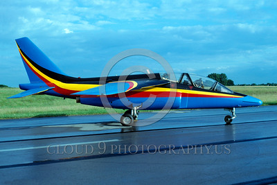 EE-Alpha Jet 00004 A static colorful Dassault Alpha Jet German Air Force jet trainer 7-1990 military airplane picture by Meinolf Krassort