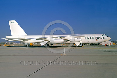 EE-B-52 00001 A static white Boeing B-52G Stratofortress USAF 80182 10-1974 Edwards AFB military airplane picture by Peter J Mancus
