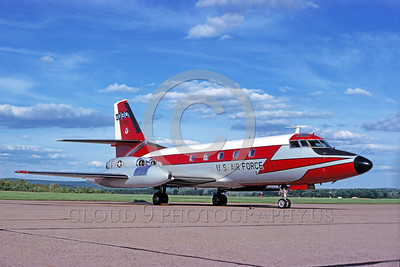 EE-C-140USAF 00001 A static colorful Lockheed C-140 JetStar USAF VIP aircraft 8-77 military airplane picture by Ron McNeil