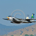 EE-F-15ANG 0032 A colorful McDonnell Douglas F-15 Eagle Oregon ANG jet fighter 79041 in rare special eagle markings takes-off at Kingsley Field during a Sentry Eagle exercise 7-2017 military ...