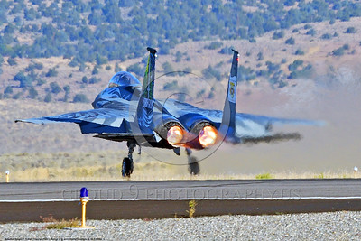 EE-F-15ANG 0012 A one-of-a-kind colorful paint scheme McDonnell Douglas F-15 Eagle air superiority jet fighter Oregon Air National Guard 79041 takes-off in afterburner at Stead for Reno Air Races 2016 military airplane picture by Peter J  Mancus