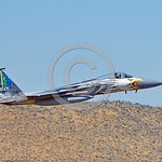 EE-F-15ANG 0040 A colorful McDonnell Douglas F-15 Eagle Oregon ANG jet fighter 79041 in rare special eagle markings takes-off at Kingsley Field during a Sentry Eagle exercise 7-2017 military ...
