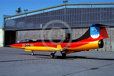 EE-F-104Forg 00016 A static colorful Lockheed F-104 Starfighter German Air Force 7-1984 military airplane picture by Kurt Thomsen