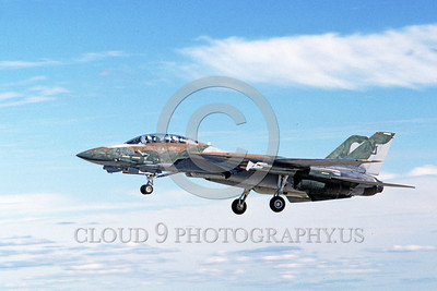 F-14USN-CAM 0008 A Grumman F-14 Tomcat USN VF-124 GUNFIGHTERS taking-off 11-1986 military airplane picture by Michael Grove, Sr