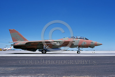 F-14USN-CAM 0016 A taxing pinkish-brown and green USN Grumman F-14 Tomcat jet fighter 159831 at NAS Fallon 6-1985 military airplane picture by Michael Grove, Sr